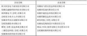 表1 合肥代表性企业列表