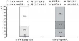 图5 云南省非遗保护名录及传承人情况