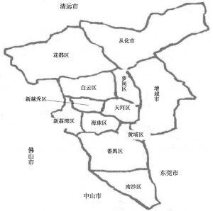图1 广州行政地图