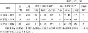 表2-1 三个村民小组的农业经营主体概况