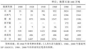 表2 20世纪的能源供给