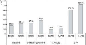图2 高内控者与低内控者在心理健康得分上的比较