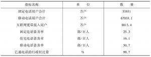 表1 2009年中国通信业指标
