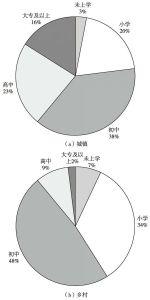 图8 2010年中部地区城乡6岁及以上人口受教育程度