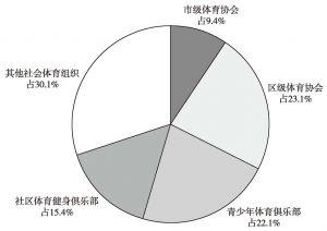 图12 上海市体育社会组织类型构成比例