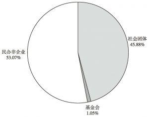 图4 2013年广东省社会组织类型结构图
