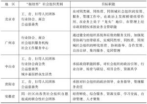 """表3-6 各地认定""""枢纽型""""社会组织类别与职能"""