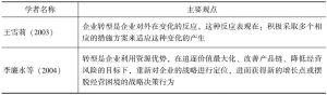 表1-1 国内学者对企业转型概念界定的代表观点