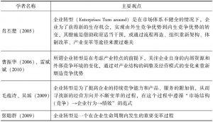 表1-1 国内学者对企业转型概念界定的代表观点-续表