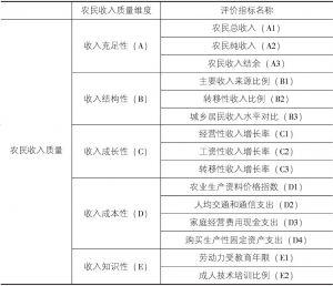 表4-1 农民收入质量体系