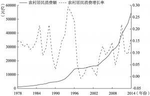 图6-1 我国农村居民消费额及其增长率