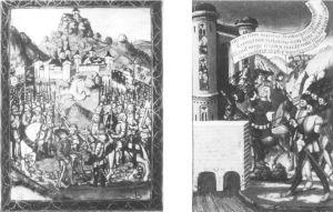 """图3-1(左)洛多维科于诺瓦拉被俘(1500年);(右)洛多维科被押解至里昂(1500年)<sup><span style=""""color:red;"""" onmouseover=""""tip.start(this)"""" tips=""""Robert W.Scheller,""""Gallia Cisalpina:Louis XII and Italy 1499-1508"""",<italic>Simiolus:Netherlands Quarterly for the History of Art</italic>,Vol.15,No.1(1985),pp.5-60.""""><font style=\""""color:red\"""">*</font></span></sup>"""