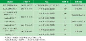 表1 青藏高原湖泊面积调查数据源
