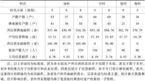 表2-1 7个村民小组的人地关系信息