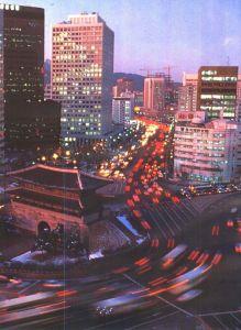 汉城南大门(国宝第1号)附近夜景