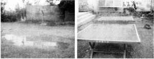 图3 雨后泥泞的操场和风雨中的乒乓球台