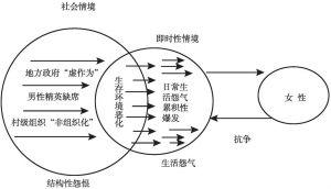"""图3 """"情境—行动分析""""视角下的女性群体性抗争图式"""