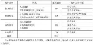 表3 社会组织分类与主要功能