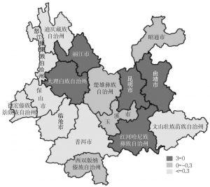 图3-16 云南省各州市旅游交通效率状况