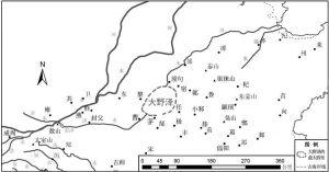 图1-3 公元前10世纪左右:据周边城邑分布情况推测得出的大野泽最大四至