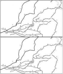 图2-3 荥泽的作用示意:荥泽湮塞前后黄河、济水与大野泽关系之对比