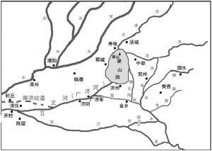 """图4-1 10世纪中叶以后五丈河(广济河)东通""""大野泽-梁山泊""""示意"""