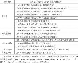 表4 上海—俄罗斯中亚国家的投资合作
