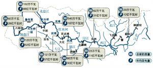 截至2003年珠江流域水电站分布