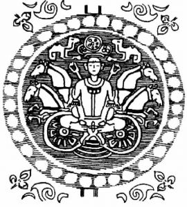 图22-6 青海都兰一号大墓出土绿地联珠太阳神锦